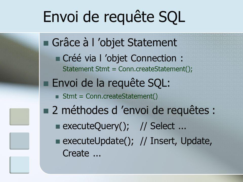 Envoi de requête SQL Grâce à l 'objet Statement