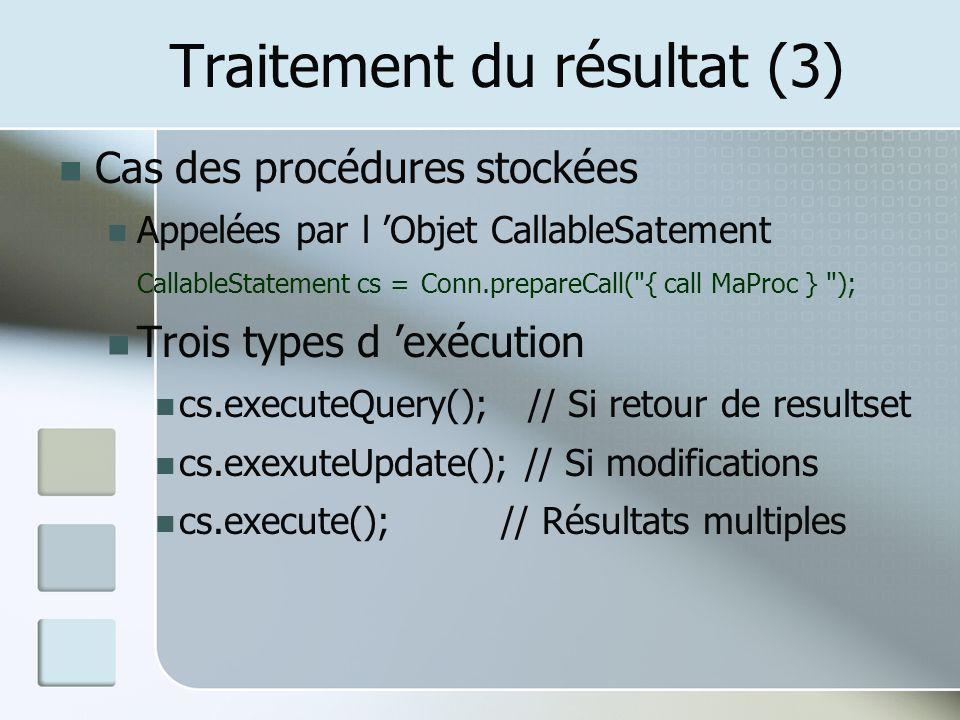 Traitement du résultat (3)