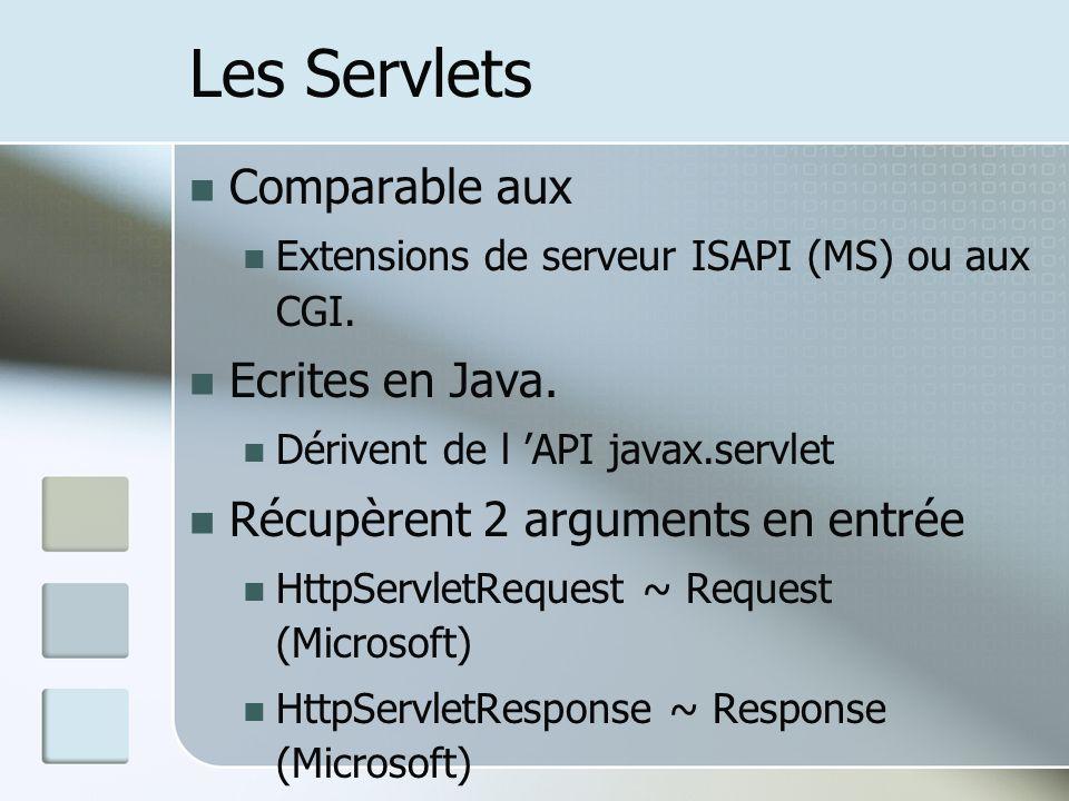 Les Servlets Comparable aux Ecrites en Java.