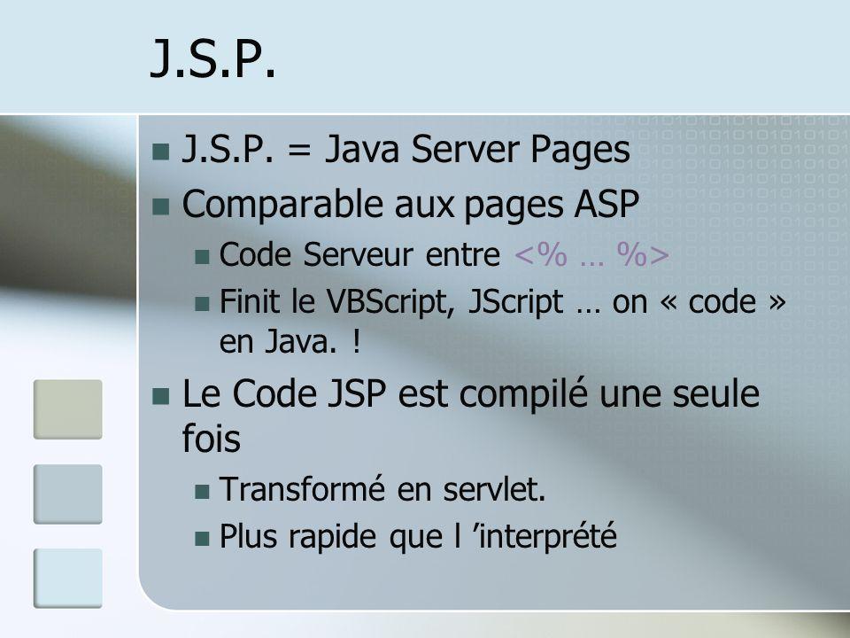 J.S.P. J.S.P. = Java Server Pages Comparable aux pages ASP