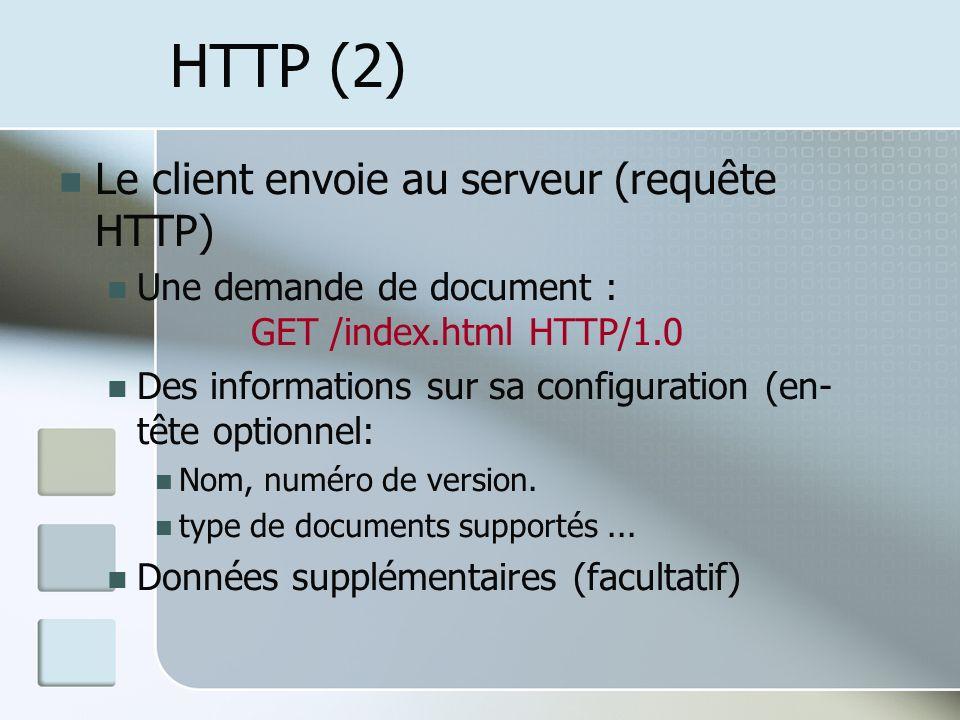 HTTP (2) Le client envoie au serveur (requête HTTP)