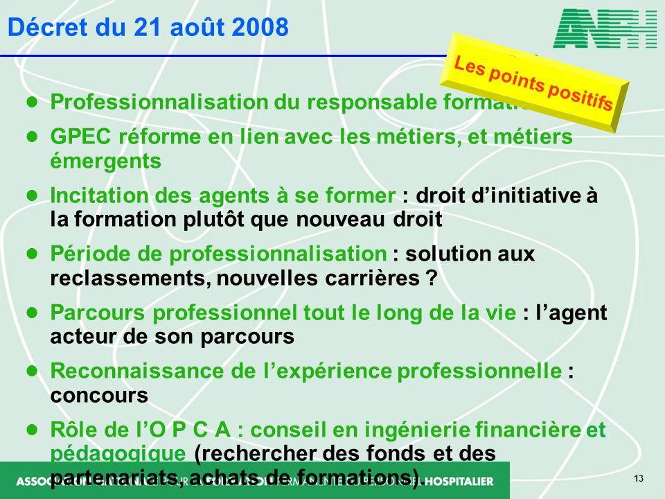 Décret du 21 août 2008 Professionnalisation du responsable formation