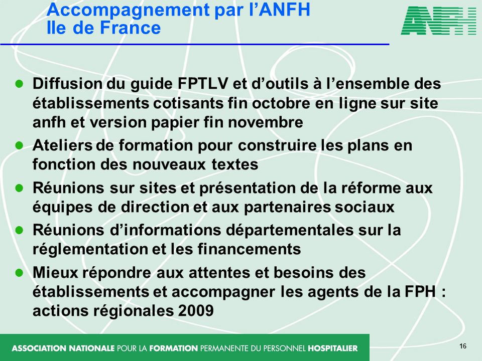 Accompagnement par l'ANFH Ile de France