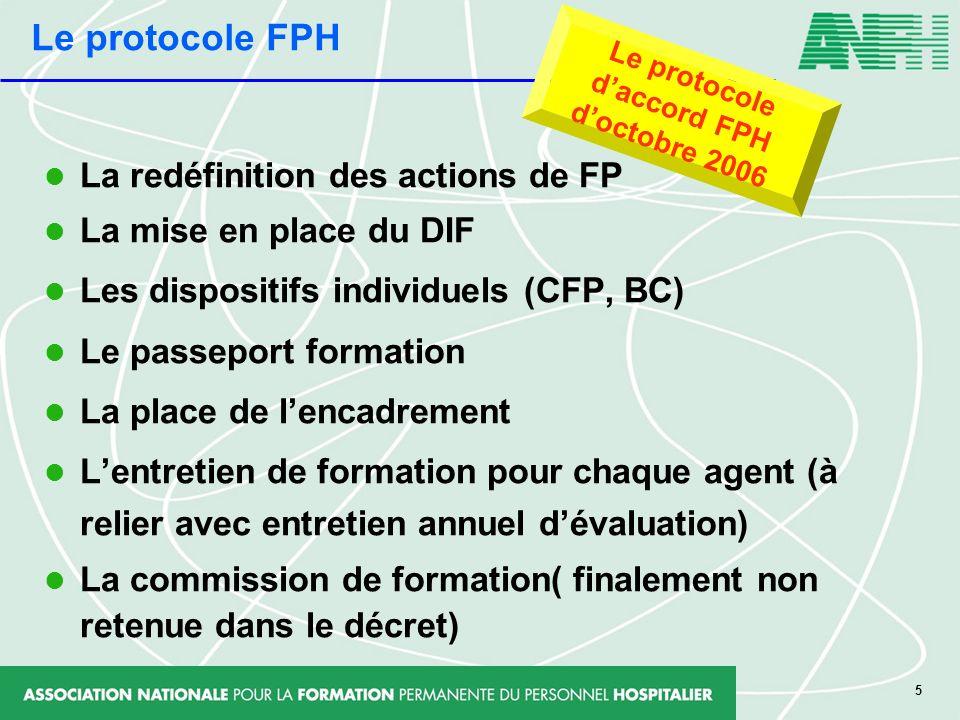 Le protocole FPH La redéfinition des actions de FP