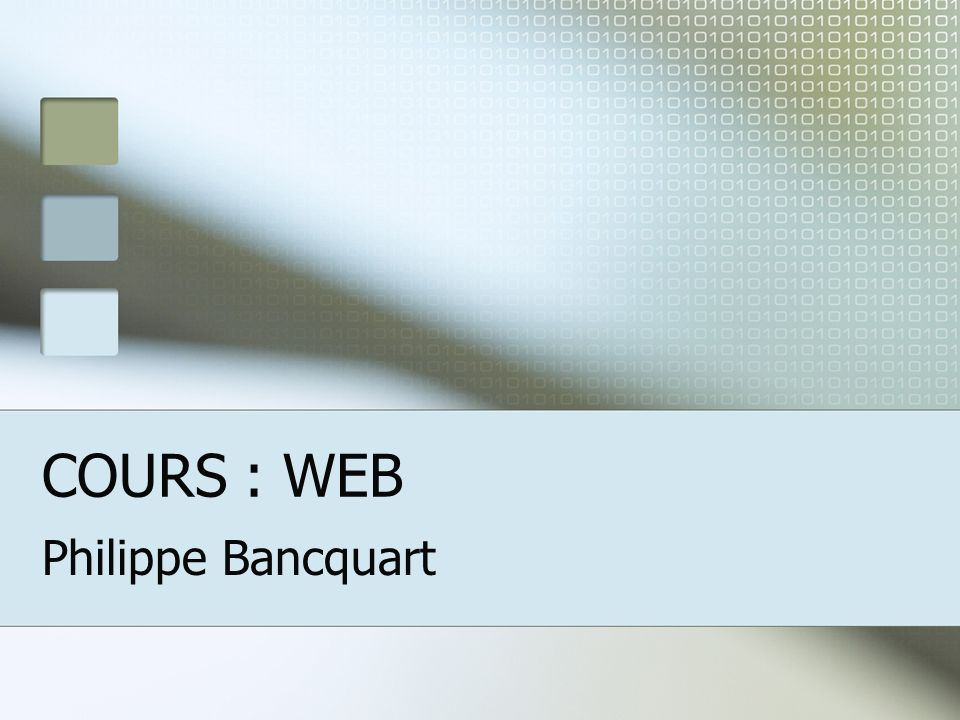 COURS : WEB Philippe Bancquart