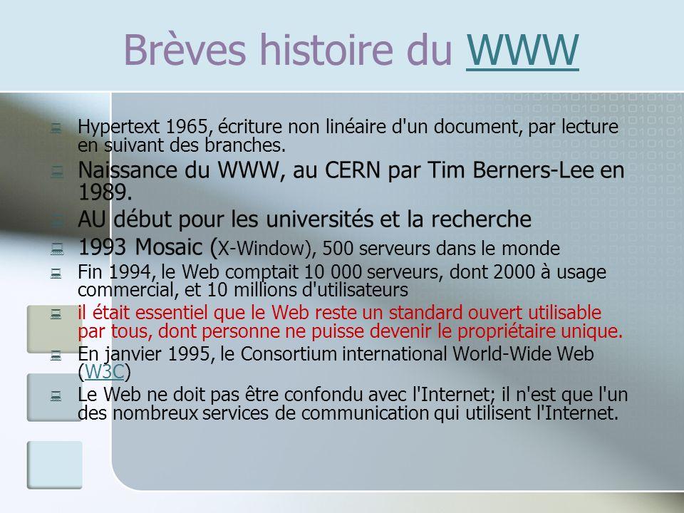 Brèves histoire du WWW Hypertext 1965, écriture non linéaire d un document, par lecture en suivant des branches.