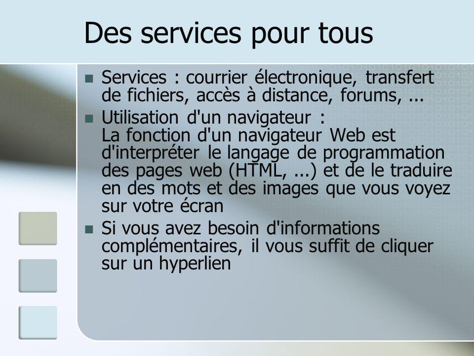 Des services pour tous Services : courrier électronique, transfert de fichiers, accès à distance, forums, ...