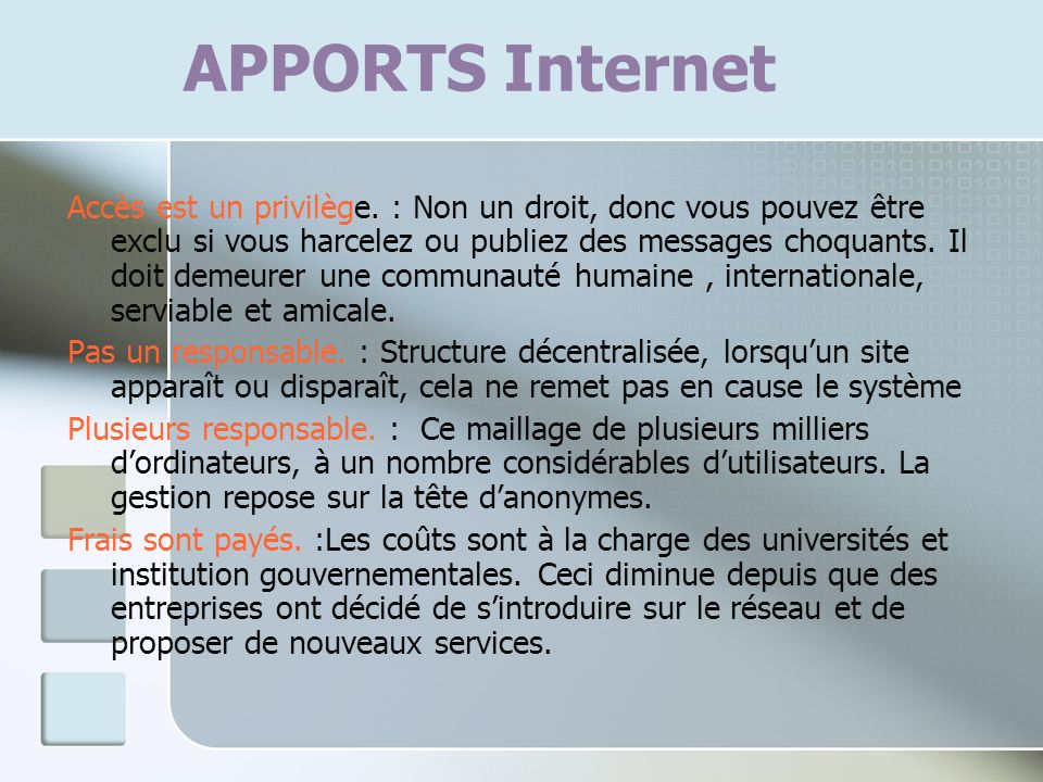APPORTS Internet