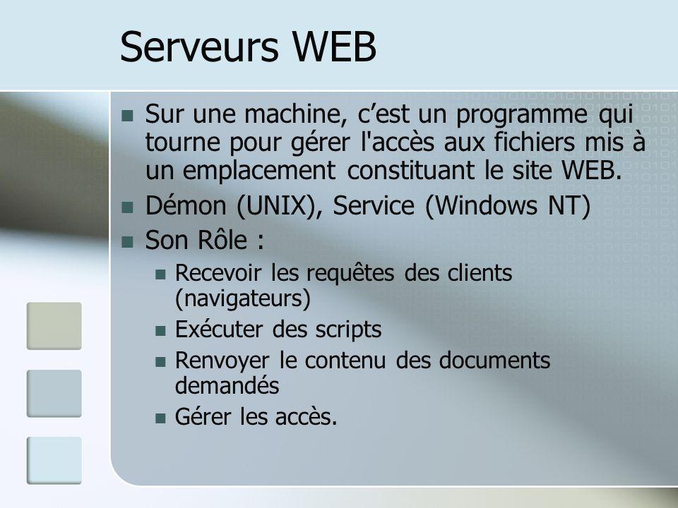 Serveurs WEB Sur une machine, c'est un programme qui tourne pour gérer l accès aux fichiers mis à un emplacement constituant le site WEB.