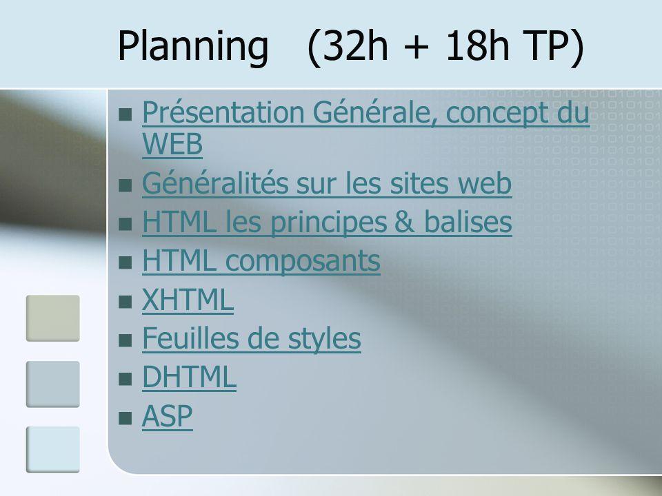 Planning (32h + 18h TP) Présentation Générale, concept du WEB