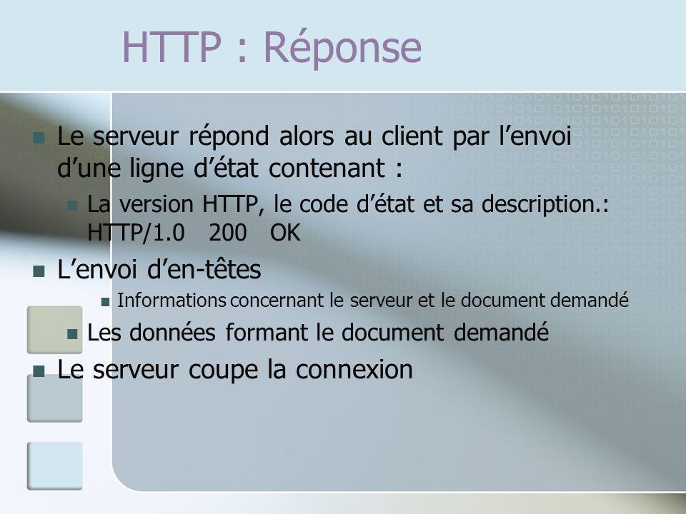 HTTP : Réponse Le serveur répond alors au client par l'envoi d'une ligne d'état contenant :