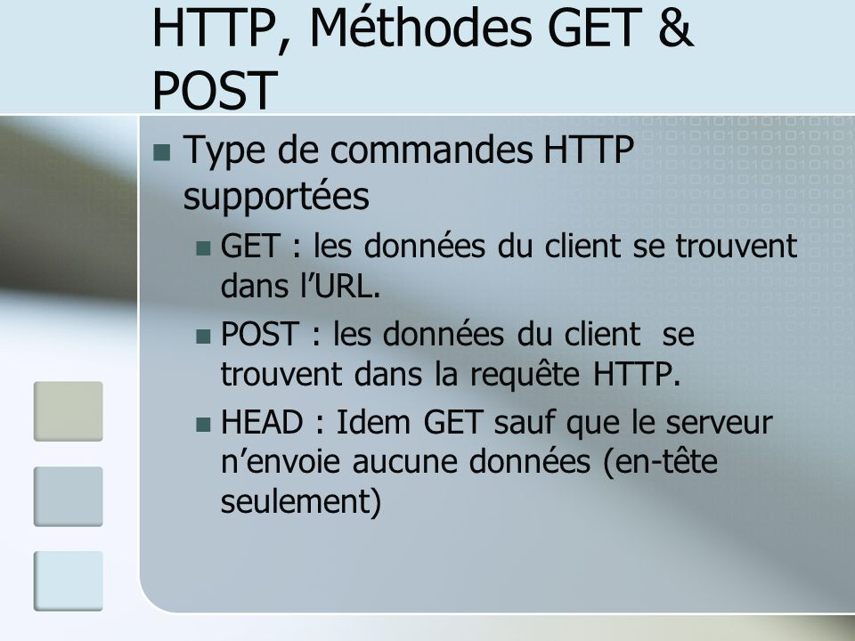 HTTP, Méthodes GET & POST
