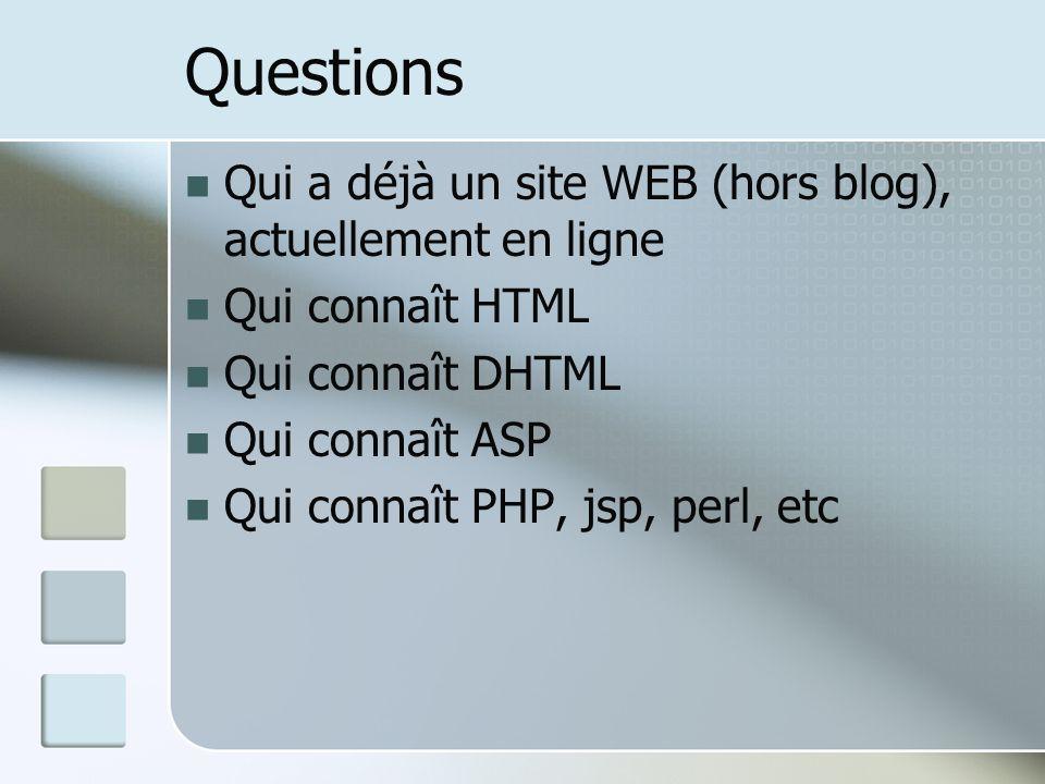 Questions Qui a déjà un site WEB (hors blog), actuellement en ligne