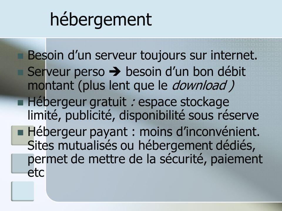 hébergement Besoin d'un serveur toujours sur internet.