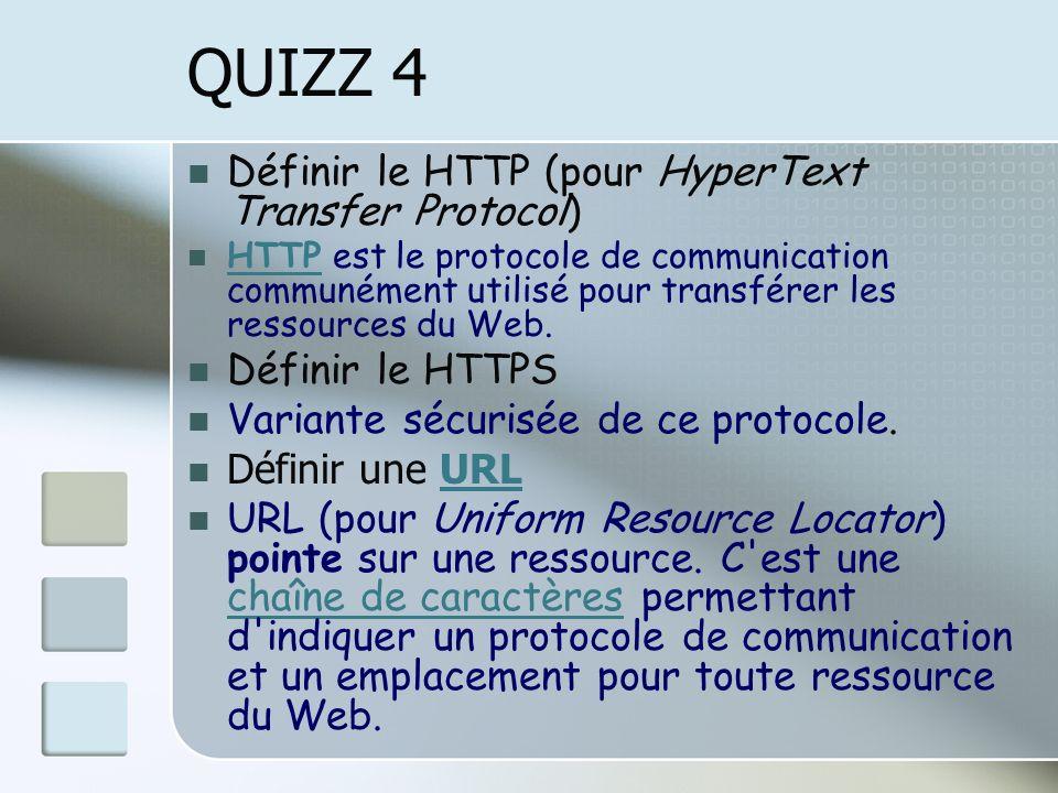 QUIZZ 4 Définir le HTTP (pour HyperText Transfer Protocol)