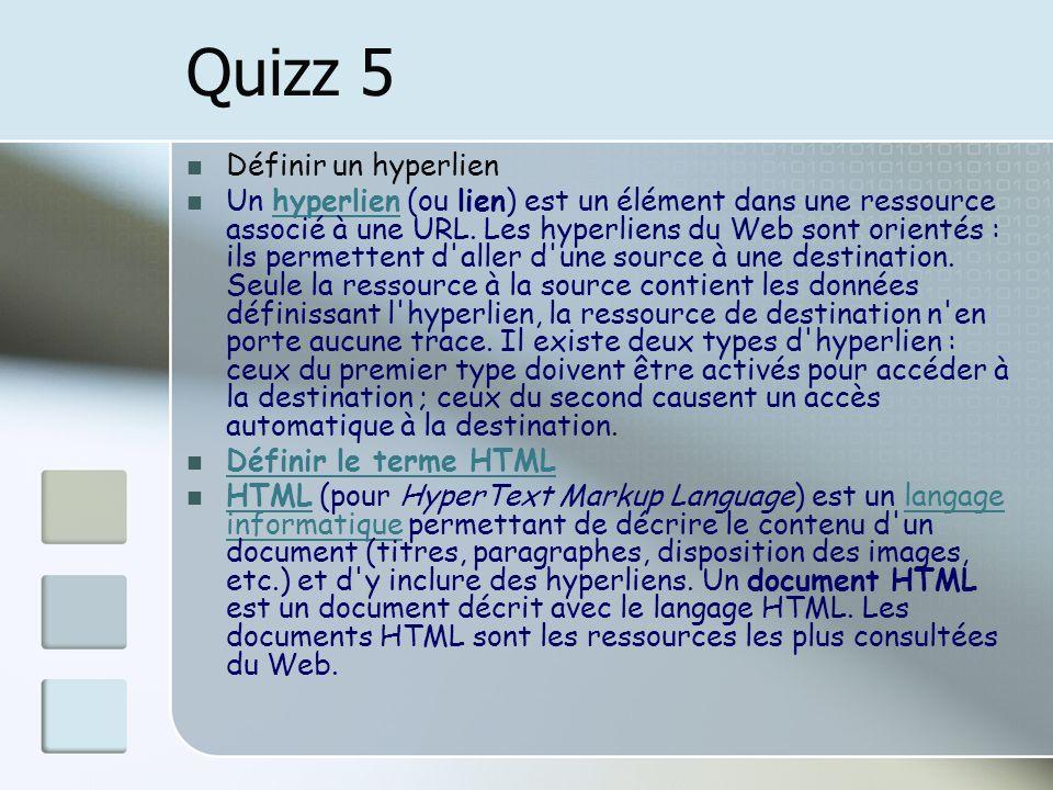 Quizz 5 Définir un hyperlien