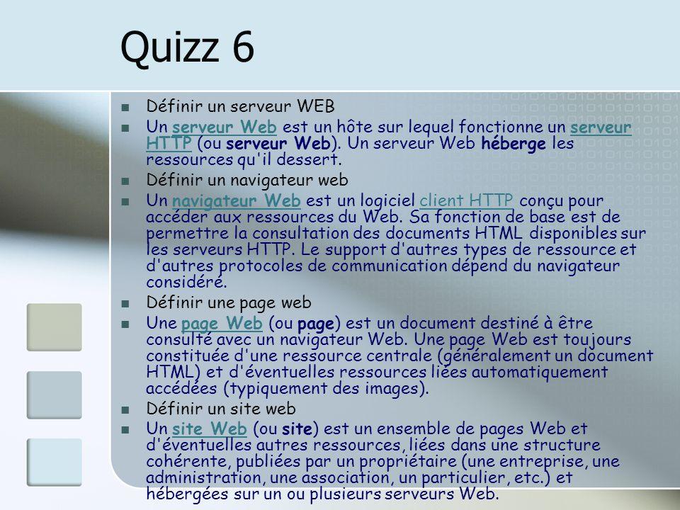Quizz 6 Définir un serveur WEB