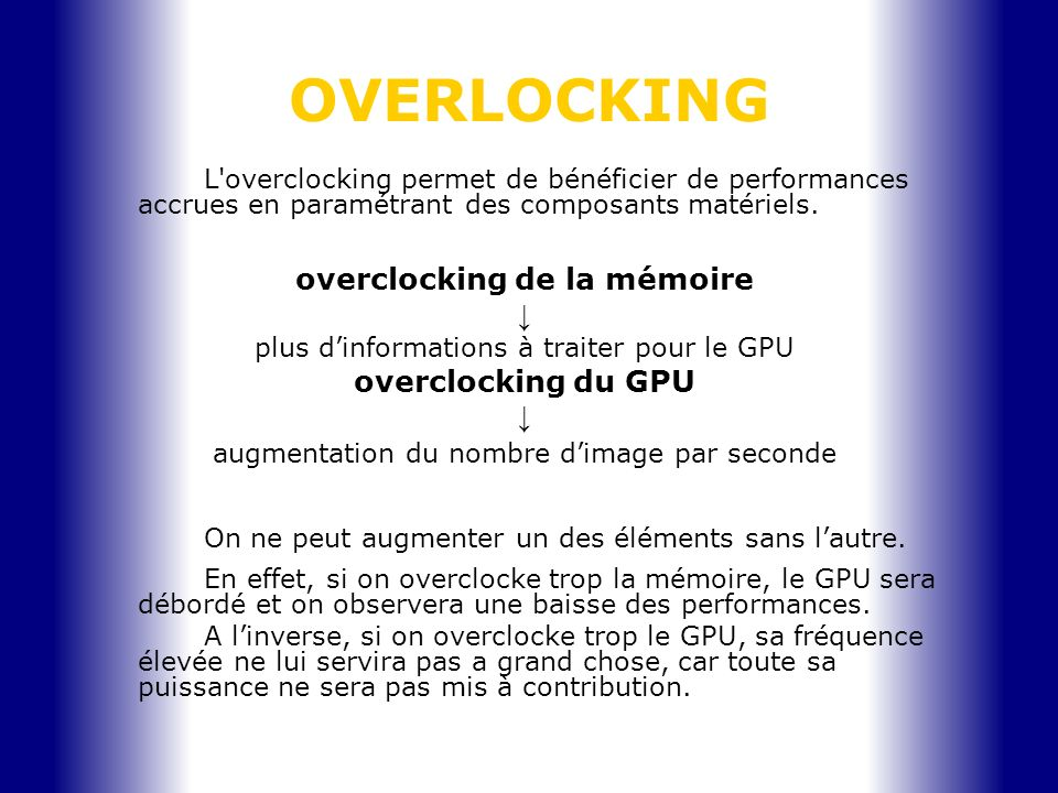 OVERLOCKING overclocking de la mémoire ↓ overclocking du GPU