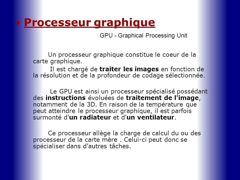Processeur graphique GPU - Graphical Processing Unit