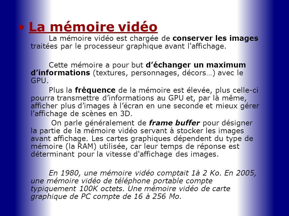 La mémoire vidéoLa mémoire vidéo est chargée de conserver les images traitées par le processeur graphique avant l affichage.