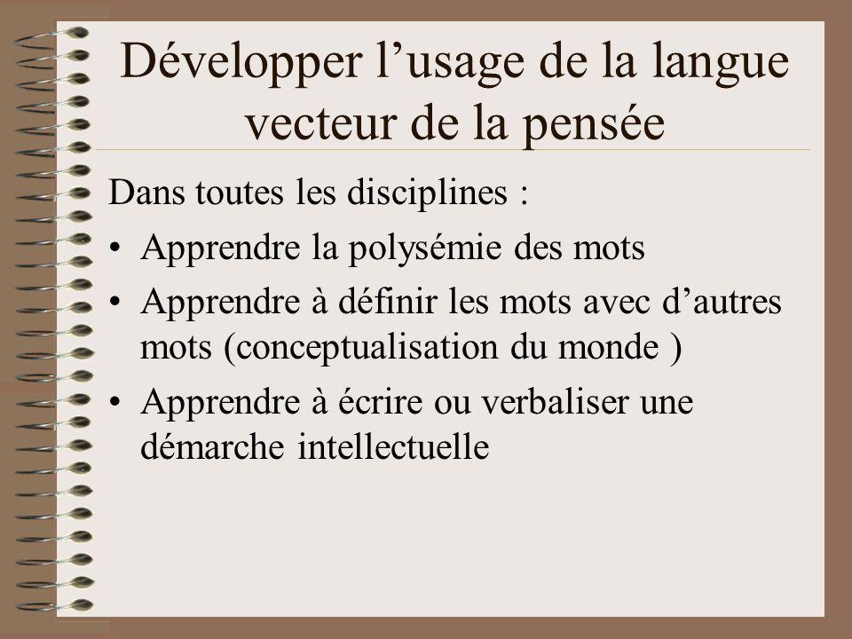 Développer l'usage de la langue vecteur de la pensée