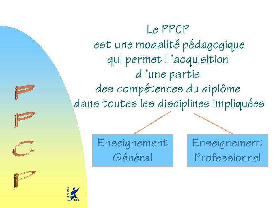 PPCP Le PPCP est une modalité pédagogique qui permet l 'acquisition