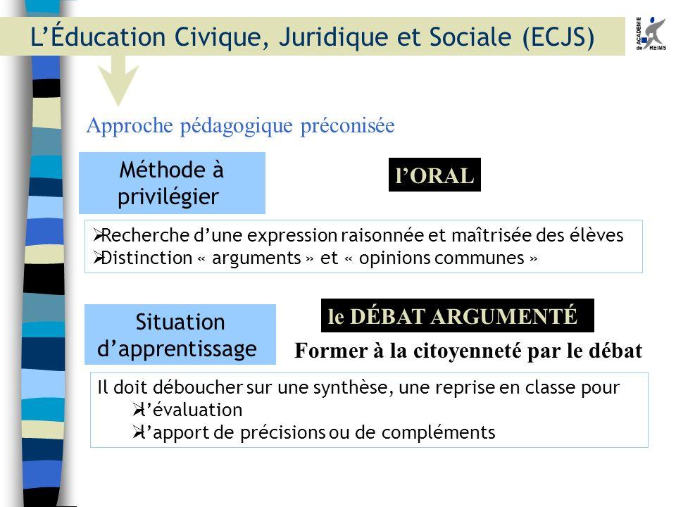 L'Éducation Civique, Juridique et Sociale (ECJS)