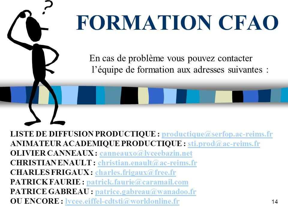 FORMATION CFAO En cas de problème vous pouvez contacter
