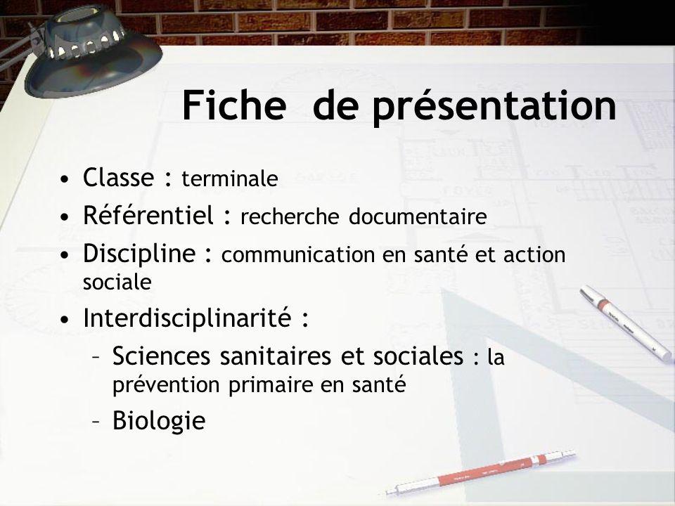 Fiche de présentation Classe : terminale