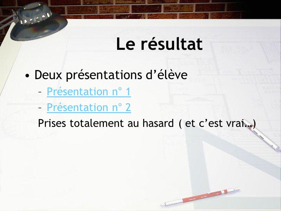 Le résultat Deux présentations d'élève Présentation n° 1