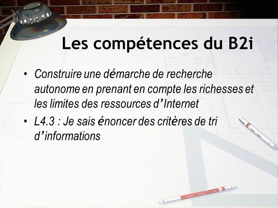 Les compétences du B2i Construire une démarche de recherche autonome en prenant en compte les richesses et les limites des ressources d'Internet.