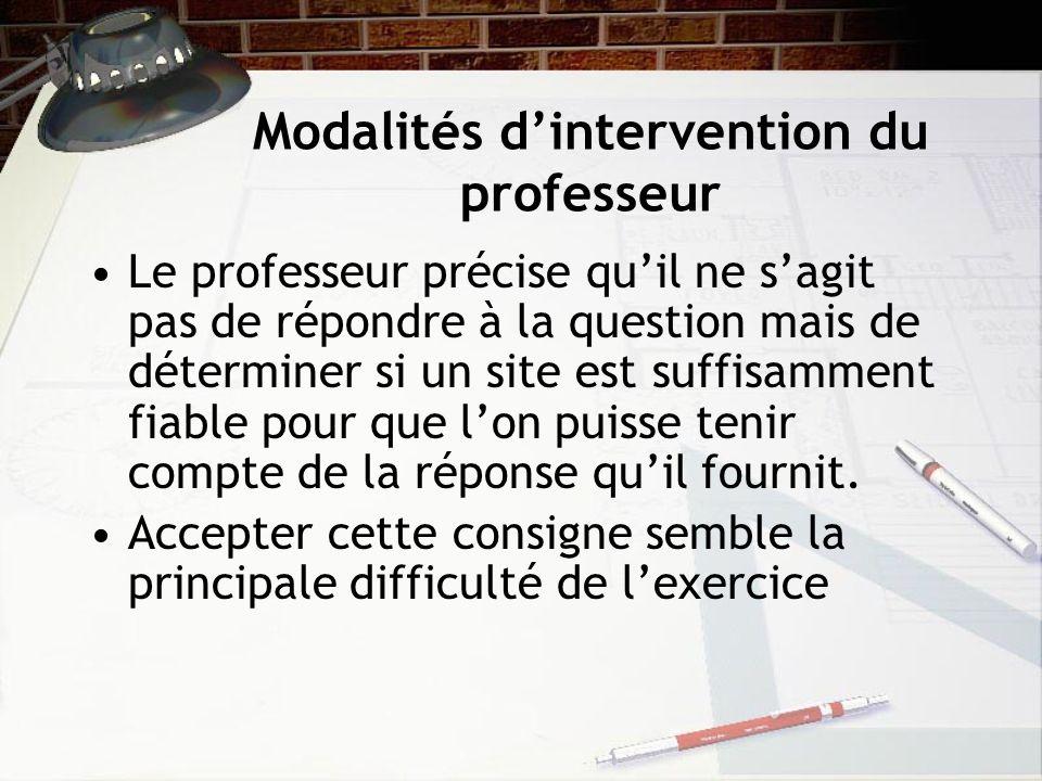 Modalités d'intervention du professeur