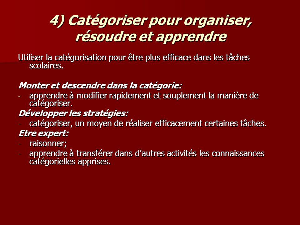 4) Catégoriser pour organiser, résoudre et apprendre