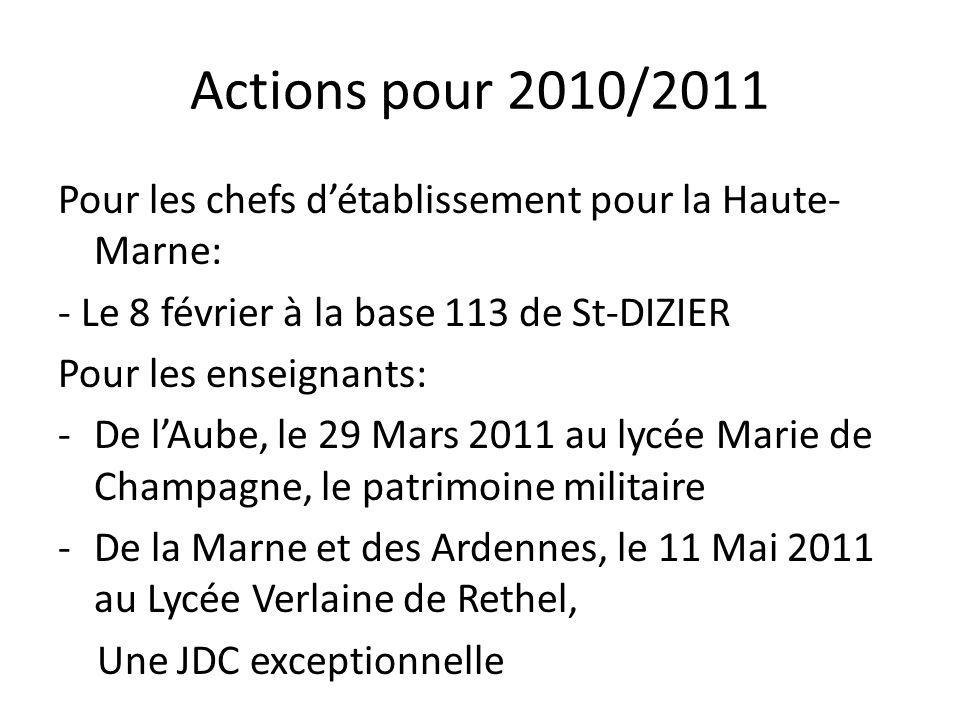 Actions pour 2010/2011 Pour les chefs d'établissement pour la Haute-Marne: - Le 8 février à la base 113 de St-DIZIER.