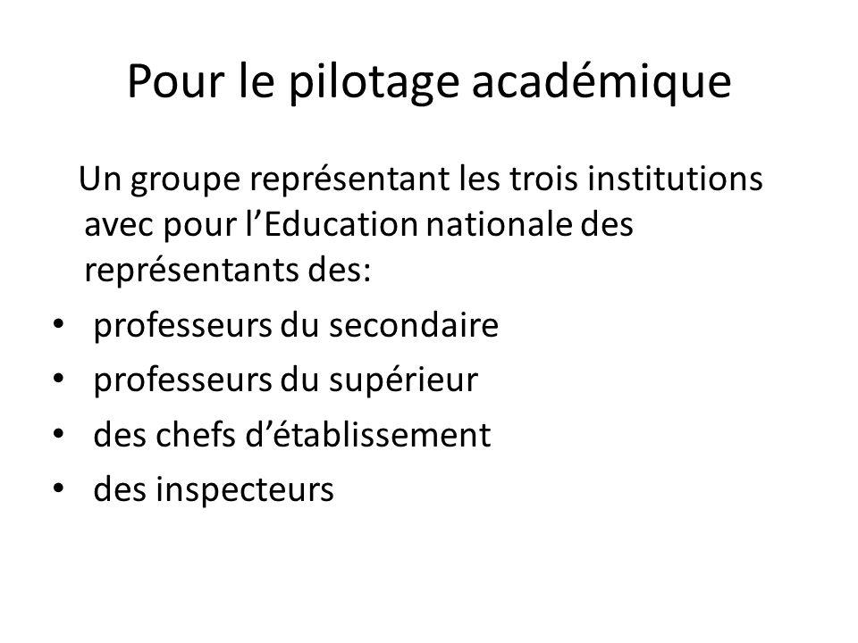 Pour le pilotage académique