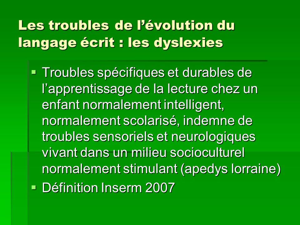 Les troubles de l'évolution du langage écrit : les dyslexies