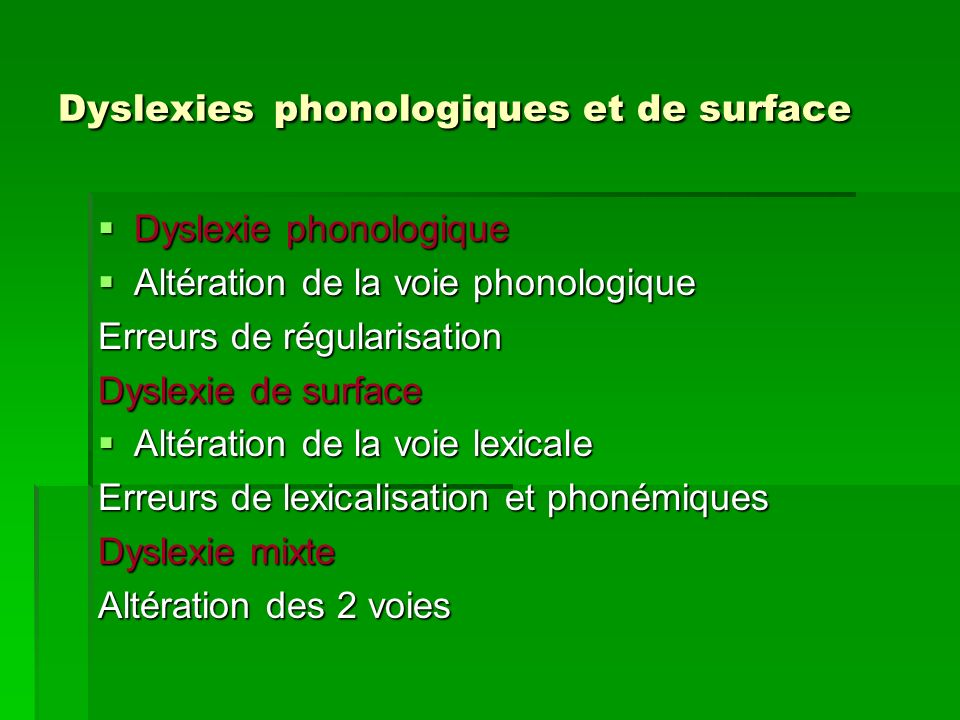 Dyslexies phonologiques et de surface