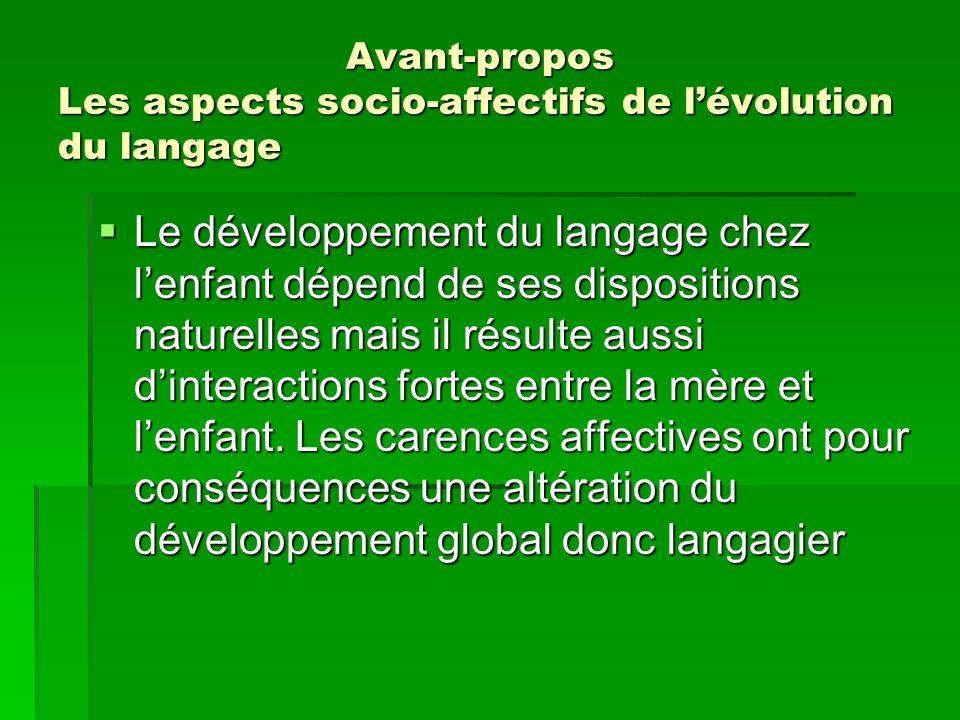 Avant-propos Les aspects socio-affectifs de l'évolution du langage