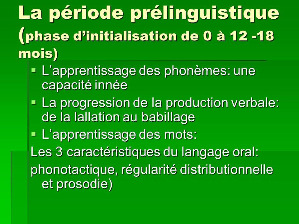 La période prélinguistique (phase d'initialisation de 0 à 12 -18 mois)