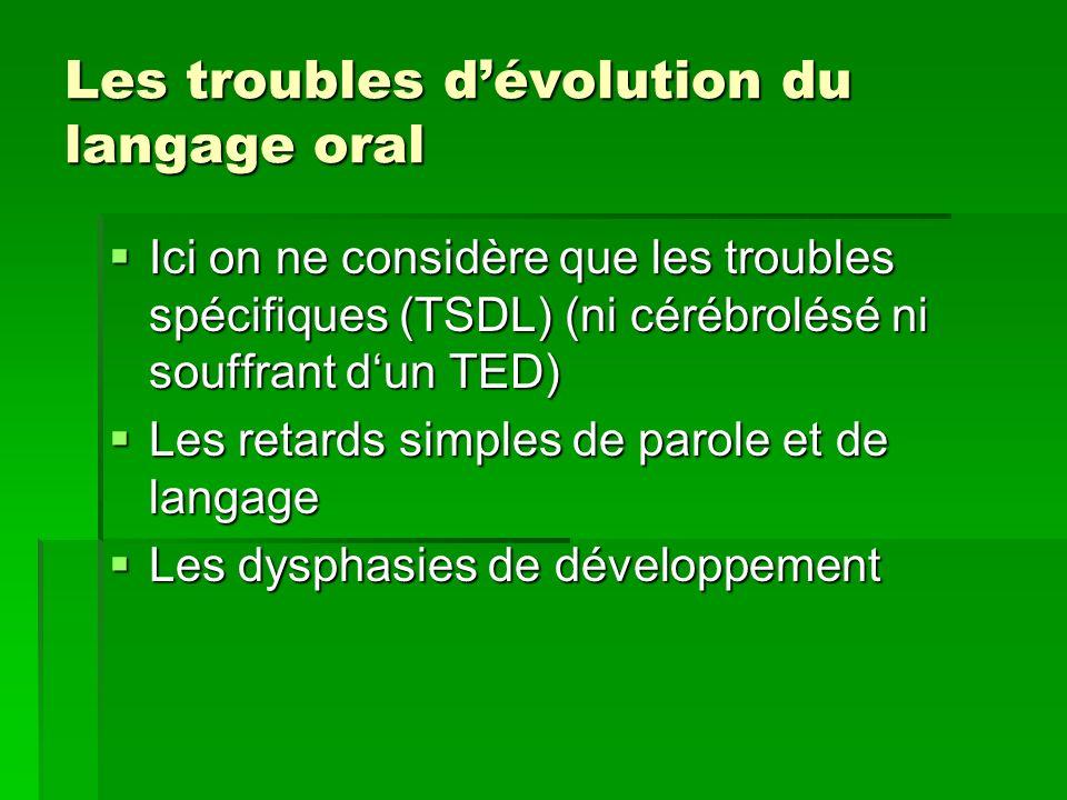 Les troubles d'évolution du langage oral