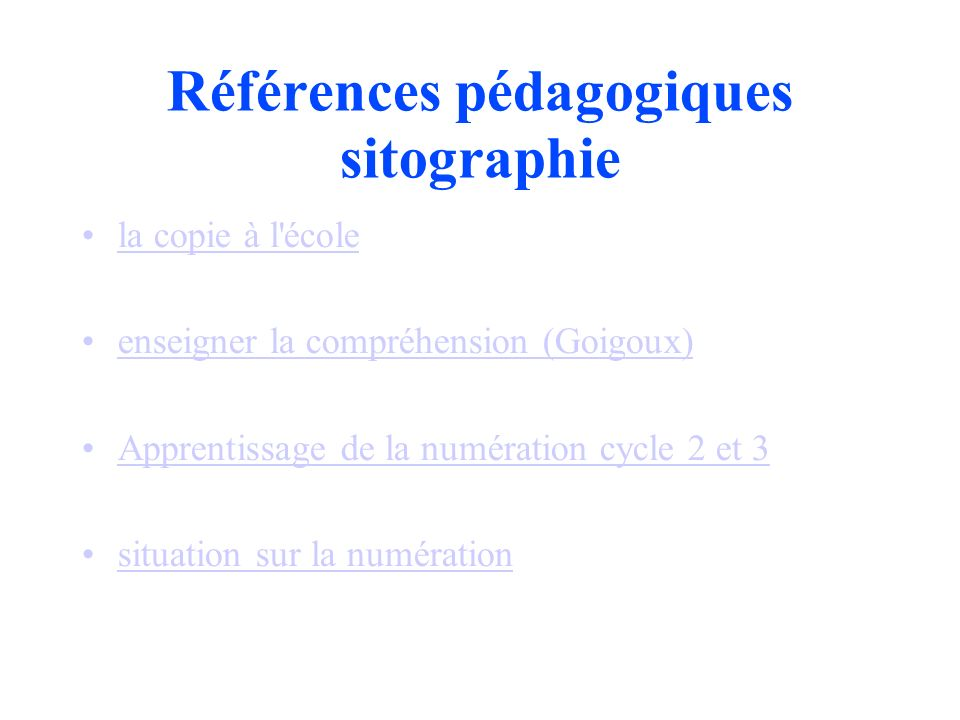 Références pédagogiques sitographie