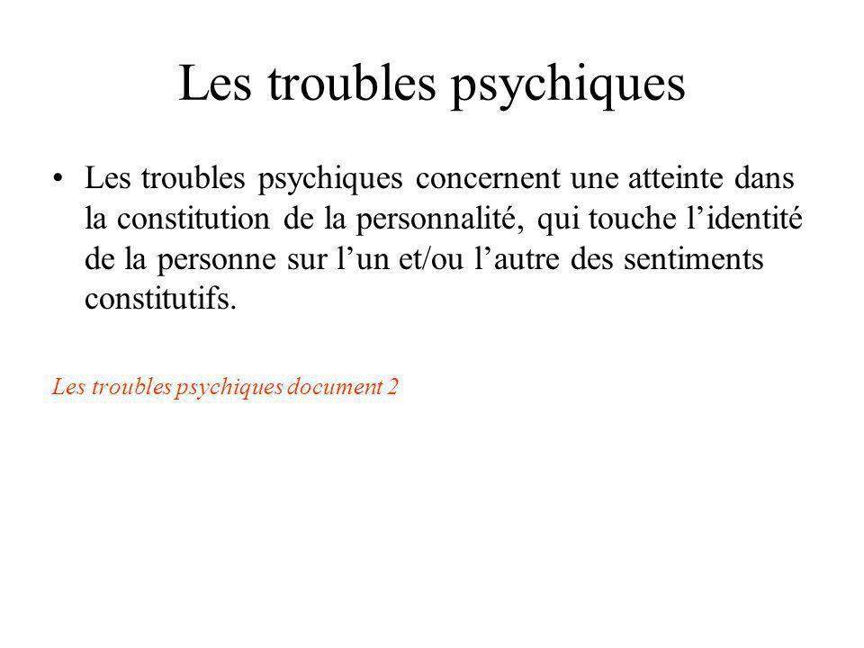 Les troubles psychiques