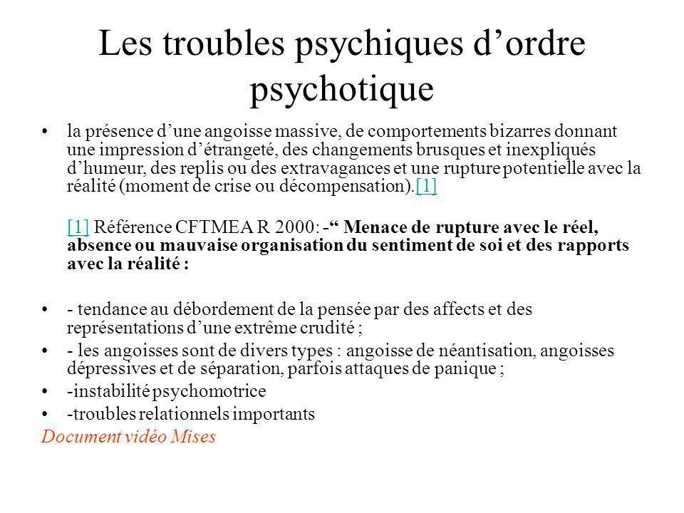 Les troubles psychiques d'ordre psychotique
