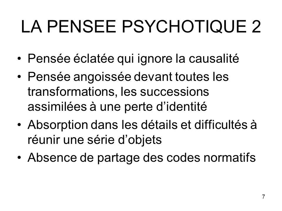 LA PENSEE PSYCHOTIQUE 2 Pensée éclatée qui ignore la causalité
