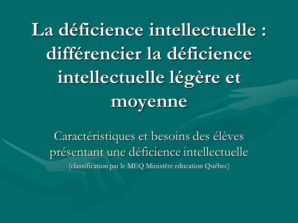 (classification par le MEQ Ministère education Québec)