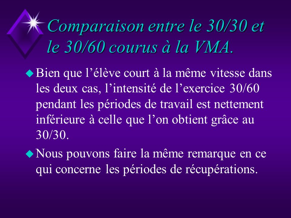 Comparaison entre le 30/30 et le 30/60 courus à la VMA.