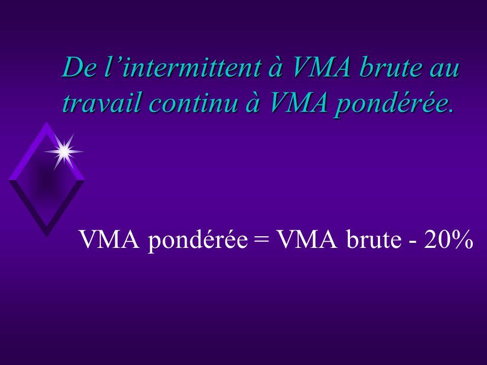 De l'intermittent à VMA brute au travail continu à VMA pondérée.