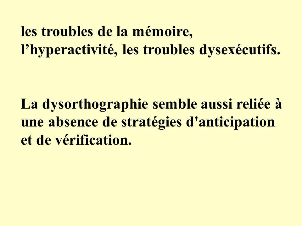 les troubles de la mémoire, l'hyperactivité, les troubles dysexécutifs.