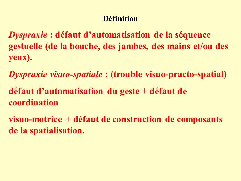 Dyspraxie visuo-spatiale : (trouble visuo-practo-spatial)