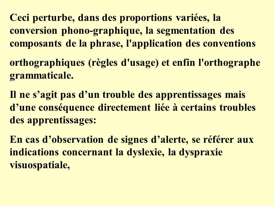 Ceci perturbe, dans des proportions variées, la conversion phono-graphique, la segmentation des composants de la phrase, l application des conventions